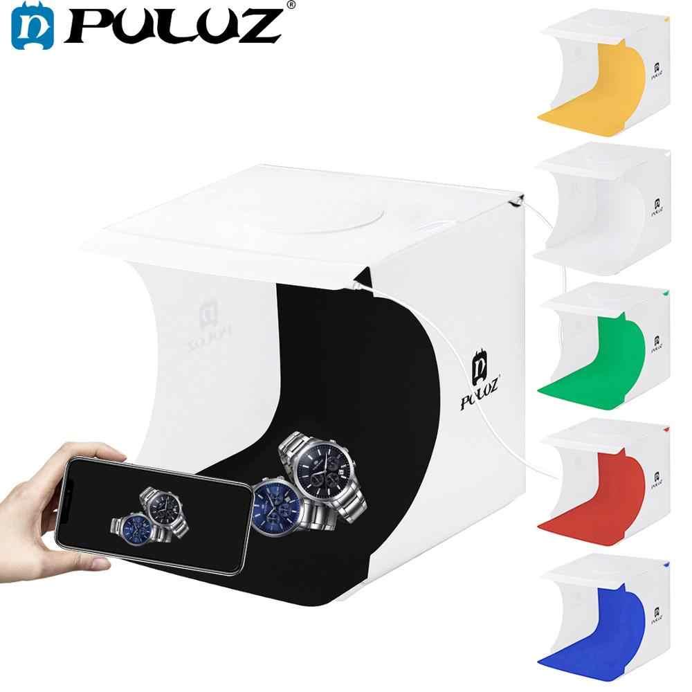Mini Lipat Lightbox Fotografi Foto Studio Softbox 2 Lampu LED Panel Lembut Box Foto Latar Belakang Kit Kotak Cahaya DSLR kamera