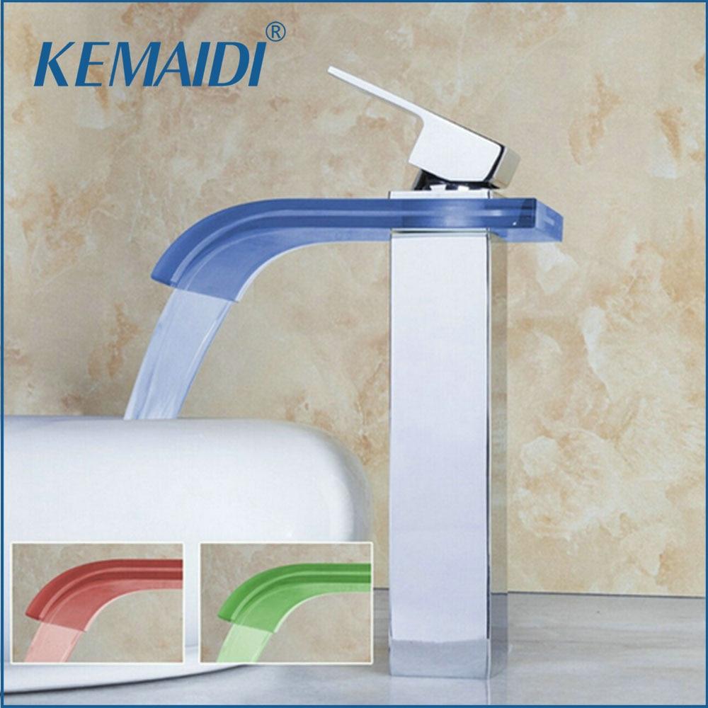 KEMAIDI Bathroom Basin Faucet Beautiful LED Light Waterfall Bathroom Deck Mounted Chrome Brass Sink Faucet Mixer