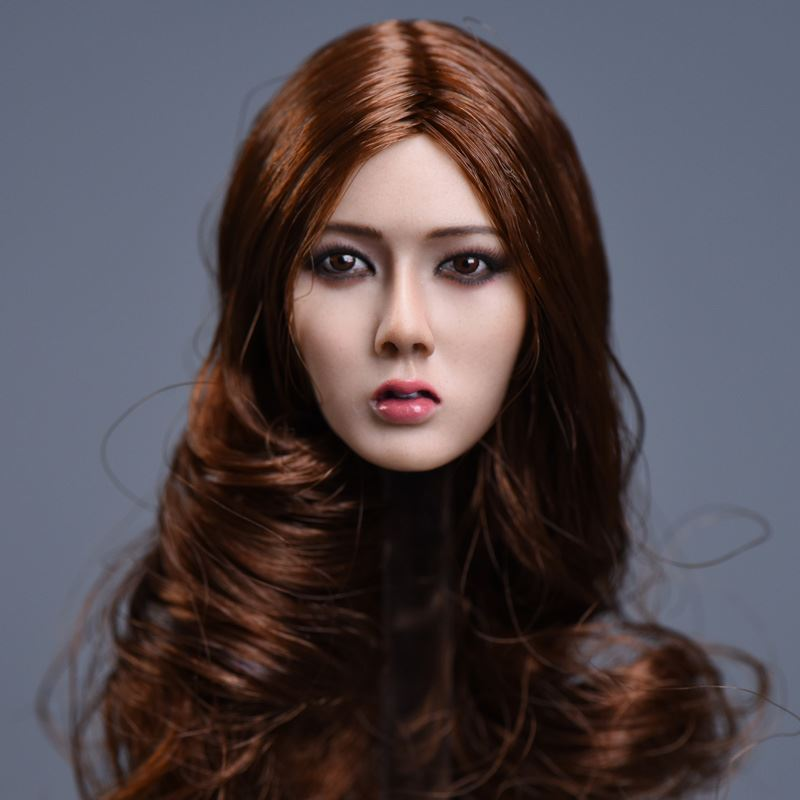 1/6 Asian Beautiful Women Head Brown Curly Long Hair Special For 12 Bodies Toys Collections