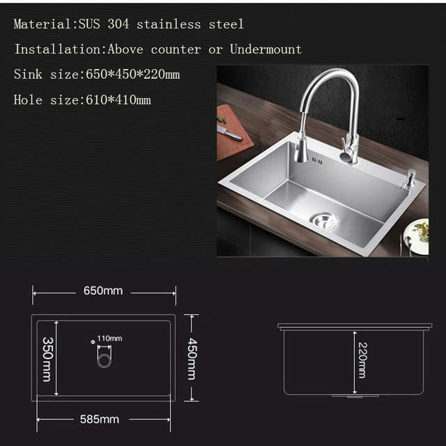 Us 185 5 30 Off Sink Kitchen Above Counter Or Undermount Installation Stainless Steel Brushed Kitchen Sink 65 45cm 68 45cm Handmade Evier Pia In