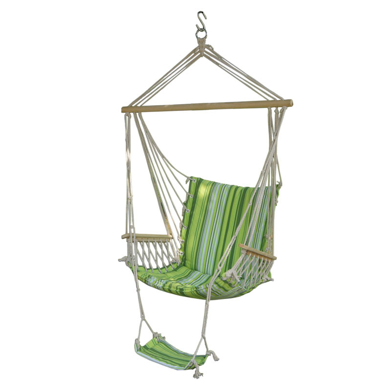 Portable Garden Porch Hanging Cotton Rope Swings Chair Hammock Swinging Wood Outdoor Indoor Swing Seat Hammc Chair with foot pad swinging hanging chair hammock rocking chair thick canvas hammock outdoor camping chair dormitory bedroom swing send tying pouch
