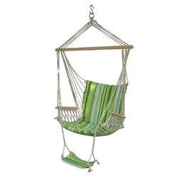 Tragbare Garten Hängen stuhl Baumwolle Seil Schaukeln sitz Hängematte Schwingen Holz Outdoor Indoor Schaukel Sitz Hammc Stuhl mit fuß pad