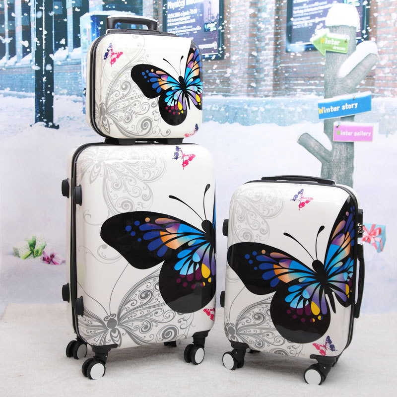 BeaSumore Women Butterfly ABS Rolling Luggage Set Trolley Suitcase Wheels High Quality 12 20 24 28