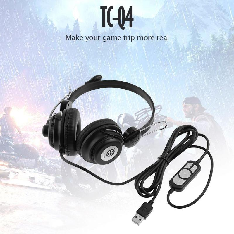 ALLOYSEED TC-Q4 USB Wired Gaming Headphone Stereo Music HiFi Video Game Headset Headband With Microphone For PC Computer Laptop
