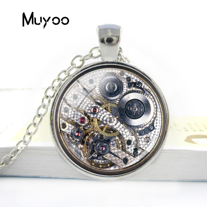 Cabochon Necklace Jewelry Connectors Watch Movement-Pendant Steampunk-Style Charms Glass