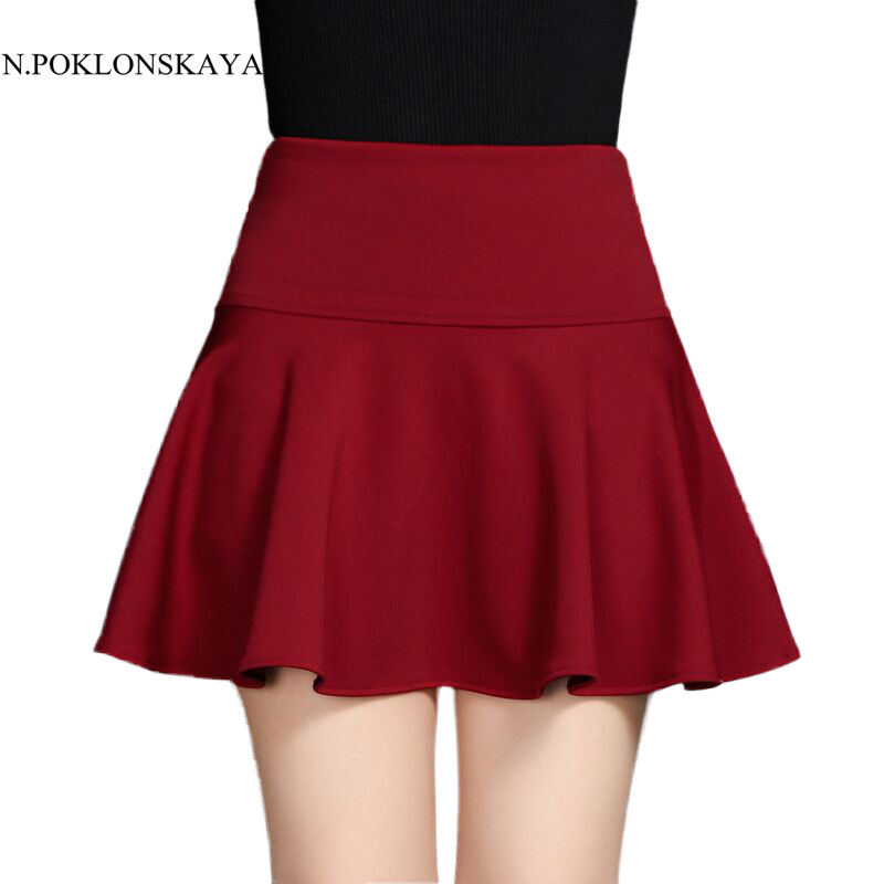 DearShe Store Summer Women Skirt Sexy Saia Short Skater Skirts for Ladies Black Red Tutu Skirt Fashion skirt high waist Faldas Jupe SE