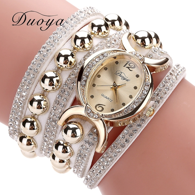 Duoya Luxury Brand Women Gold Rhinestone Leather Wrist Ladies Quartz-Watch Casua