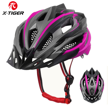Capacete de ciclismo feminino integralmente moldado, proteção para ciclistas, mountain bike, capacete ultraleve eps + pc com cobertura mtb, X-TIGER capacete 1