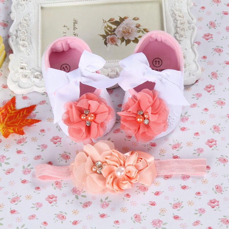 Rhinestone 2016 Newborn Shoes baby hair accessories set;Toddler flowers Baby Girl Shoes;Baby lace bow sapato bebe Shoe #2T0092