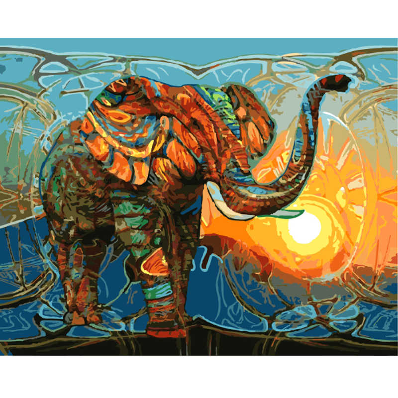 New Home Decor Frameless Pictures Painting By Numbers Digital Oil Painting On Canvas Abstract Oil Painting Elephant