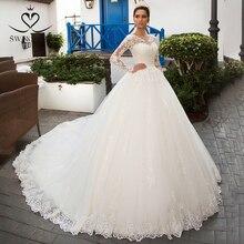 Swanskirt Detachable Long Sleeve Wedding Dress 2020 Scoop Appliques Lace A Line Vintage Princess Bride Vestido de Noiva K201