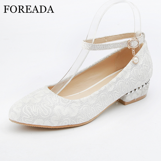 76b83b8d42 FOREADA Wedding Shoes Women High Heels Ankle Strap Square Low Heel Party  Shoes Silk Round Toe Lady Shoes Red White Plus Size 43