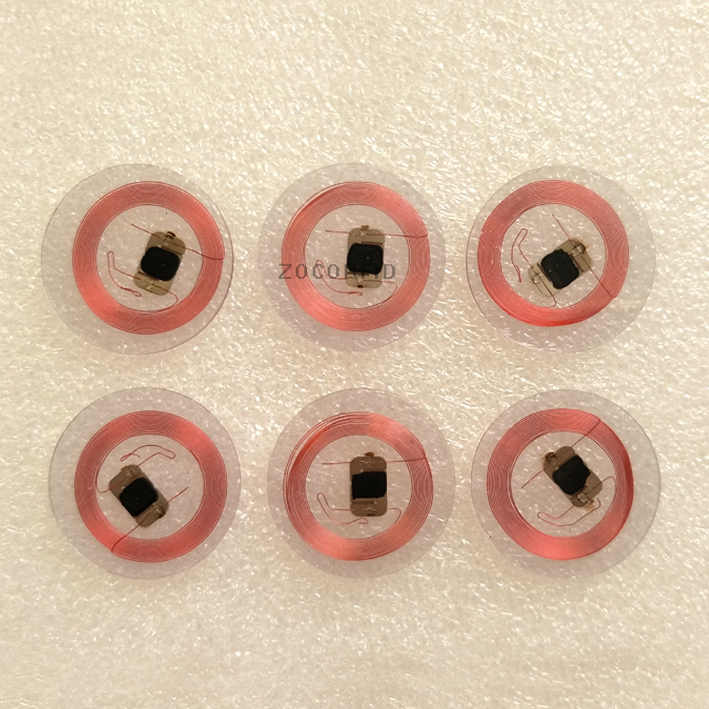 100pcs/lot 125Khz EM4100 RFID Read Only Coin Tag 25mm Diameter 0.5mm Thick Coil With Transparent Plastic