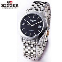 Binger big cz diamond men sports watches black dial Automatic mechanical swim 50M Waterproof elegant wristwatch steel band