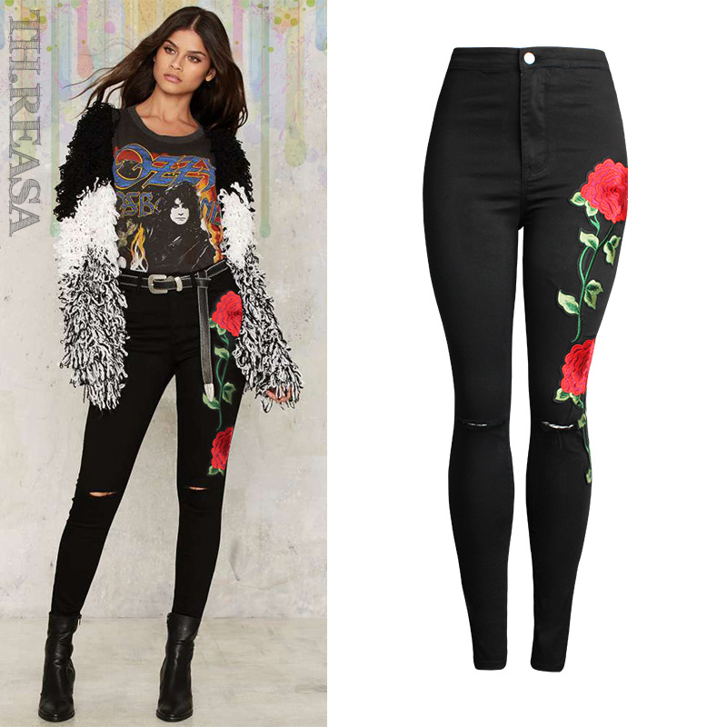 2017 American Apparel Rose Embroidery Ripped Jeans For Women Plus Size Skinny Black Pants Vintage Denim Femme