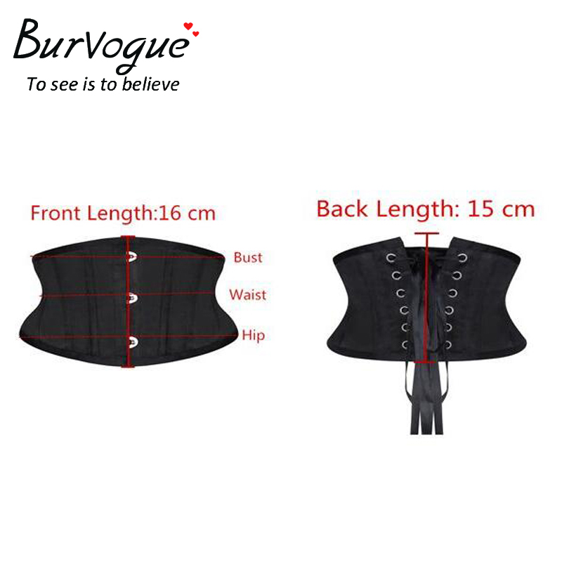 Image 3 - Burvogue Women Corset Underbust 26 Steel Boned Satin Corsets and Bustiers Plus Size Waist Trainer Control Belt for Weight Losscorsets and bustierscorset underbustcorset plus -