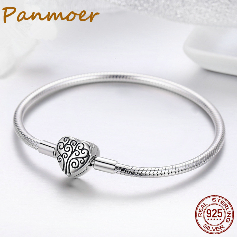 Hot sell 100% 925 Sterling Silver Tree Of Life Pave Heart Clasp Snake Chain Bracelet for Women fit pandor charms Jewelry SCB066