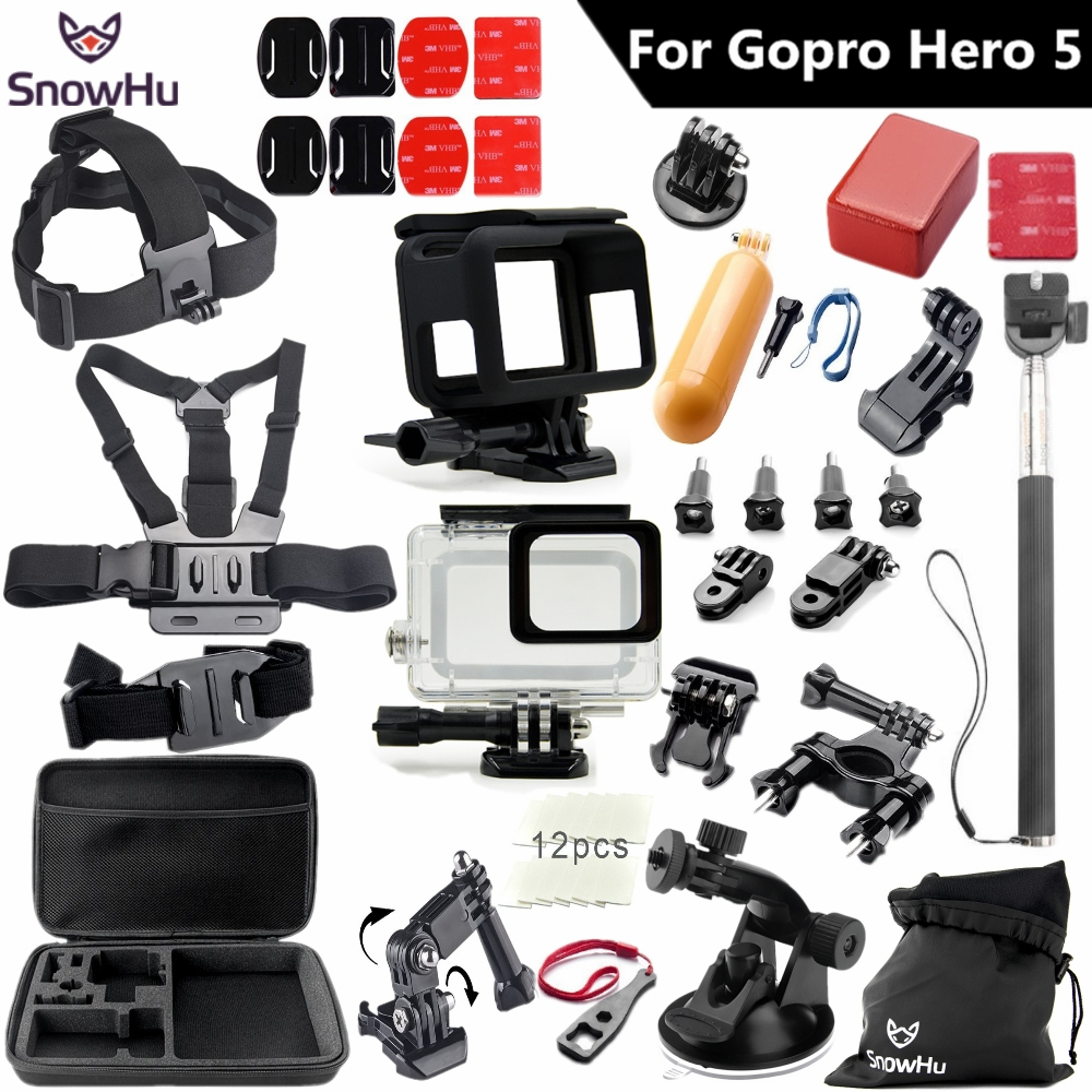 SnowHu for Gopro 7 6 5 accessories set For Gopro hero 7 6 5 protective case chest Monopod for gopro hero 7 6 5 tripod S49