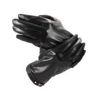Winter Men's Genuine Leather Gloves Fashion Warm Black Goat skin leahter Gloves