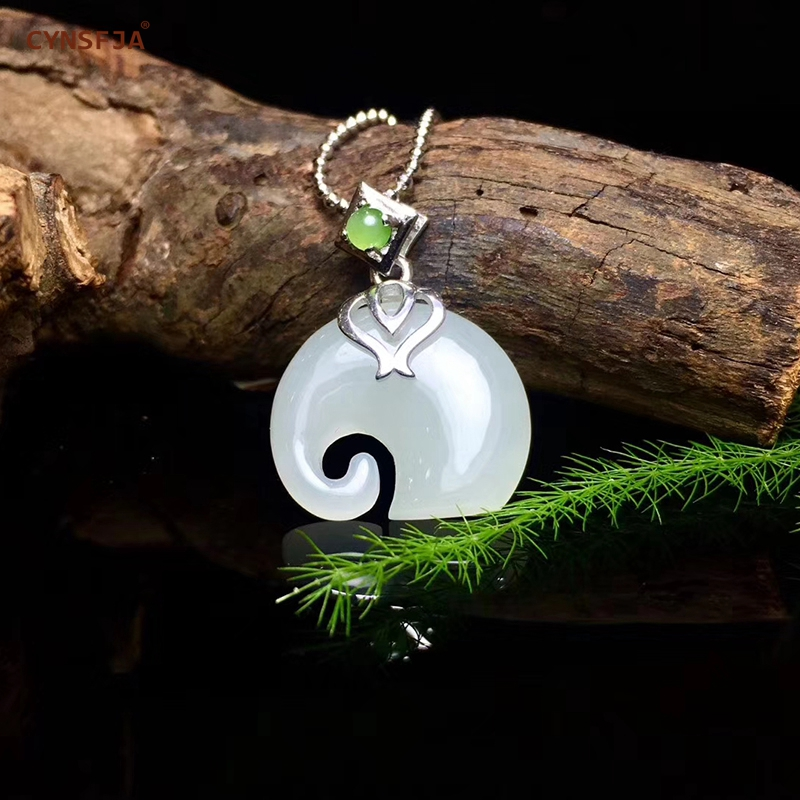 Certified Natural Hetian Jade Inlaid 925 Sterling Silver Handmade Lucky Elephant Jade Pendant White High Quality Wonderful Gifts
