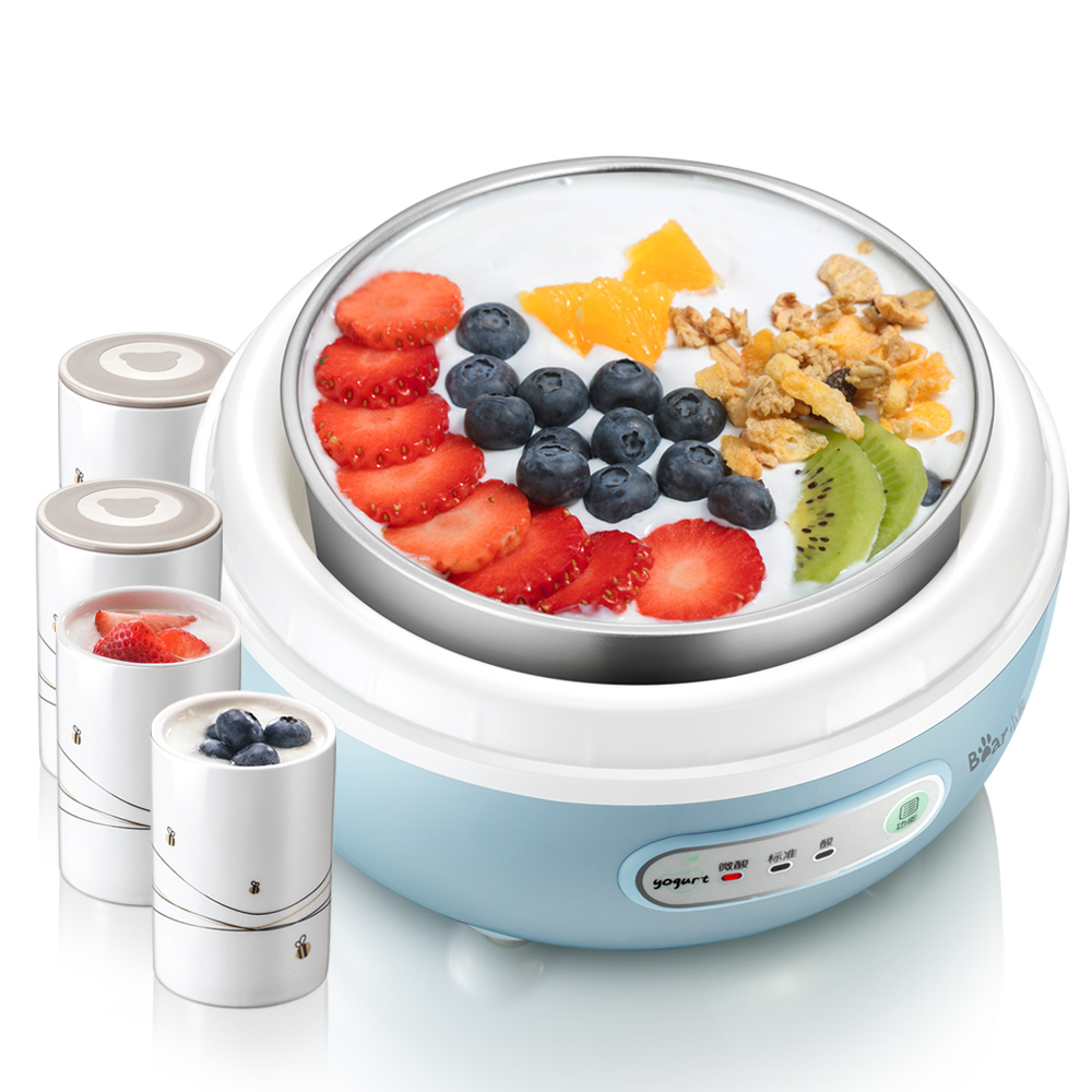 X17 home automatic Yogurt machine mini yogurt maker stainless steel pot Silicone yogurt lids 3 gear with 4 ceramics yogurt cup