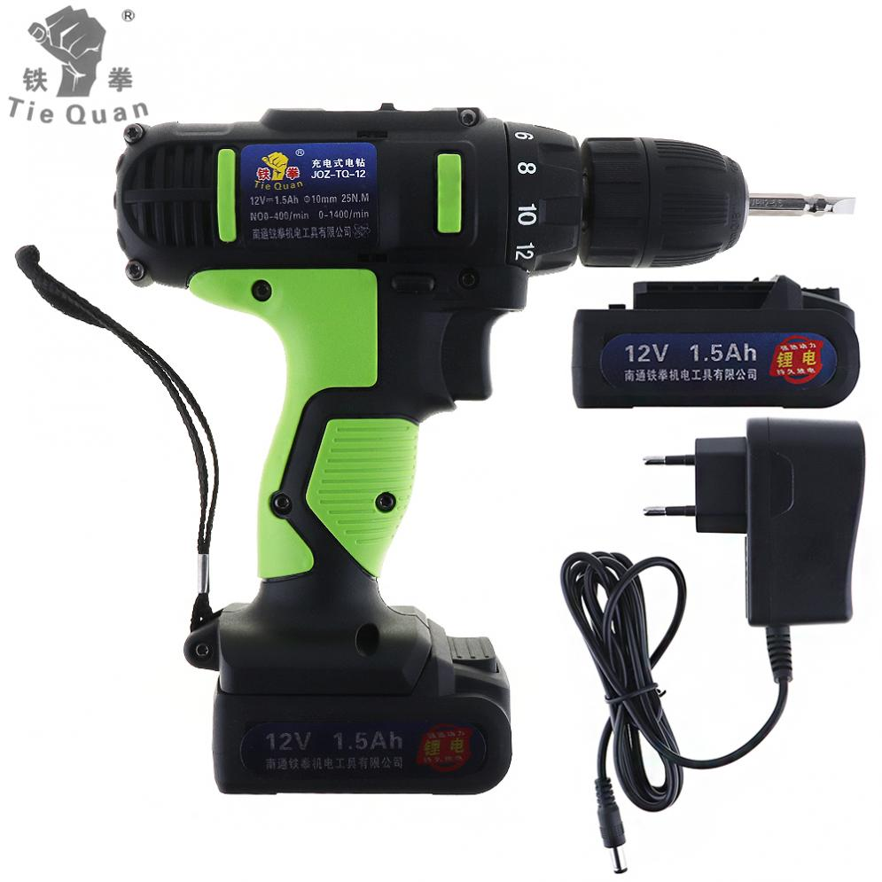 Sale AC 100 240V Cordless 12V Electric Drill Screwdriver with 2 Lithium Batteries and Two speed