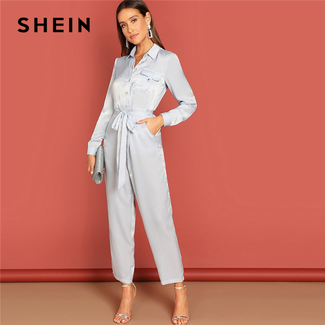 39b8417a81fb SHEIN Grey Button Front Waist Belted Collar Jumpsuit Casual Plain Long  Sleeve Highstreet Women Autumn Elegant