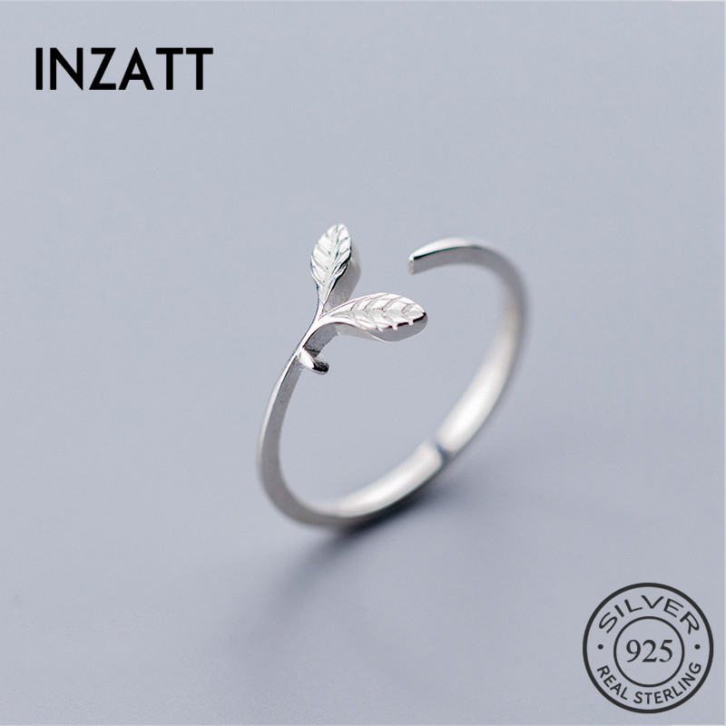 INZATT Real 925% Sterling Silver Bud Plant Opening Ring For Fashion Women Cute Wedding New Life Fine Jewelry Hyperbole Ring Gift