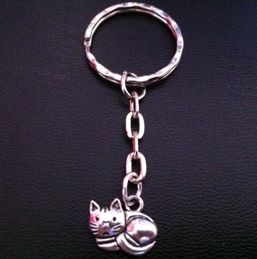 Hot 10 Pçs/lote Prata Antiga Gato Lindo Pingente Charme Chave Chaveiro Anel de Acessórios de Moda Jóias Mulheres Presentes de Feriado B927