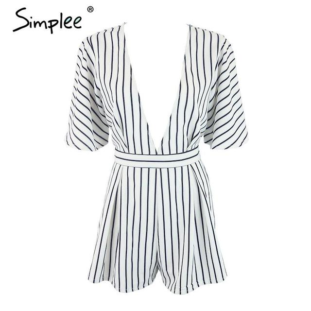 Simplee sexy black and white striped jumpsuit romper women V neck butterfly sleeve overalls 2016 new belt beach playsuit