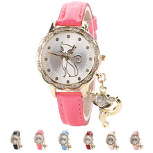 Womens Quartz Watches 1 PC Luxury Diamond Analog Wrist Watch with Crystal Cat Pendant Lady Female