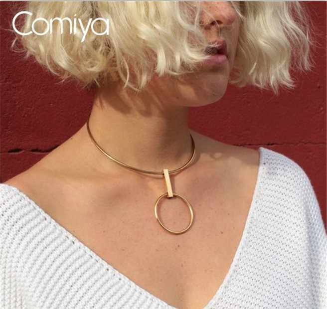 Comiya Yellow Colier Femme Bijoux Argent Fashion Circle Pendant Choker Colar Collar Necklaces Accesorios Mujer Drop Shipping