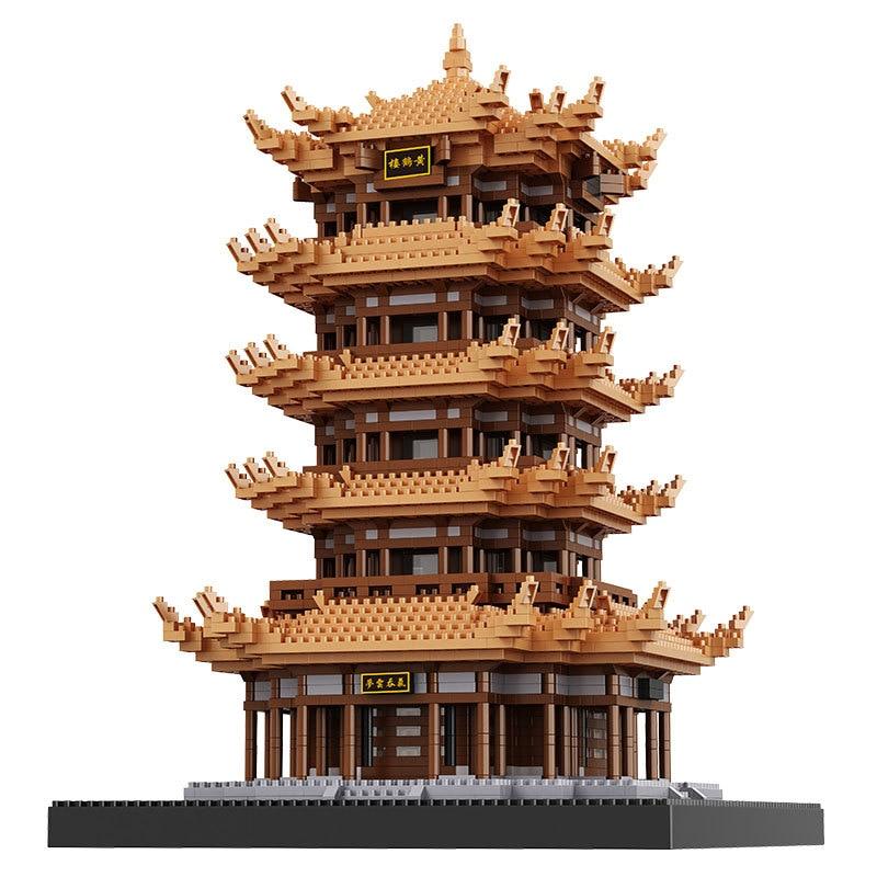 중국어 유명한 고대 건축 노란색 크레인 타워 중국 거리 모델 작은 벽돌 빌딩 블록 호환 블록 완구-에서블록부터 완구 & 취미 의  그룹 1