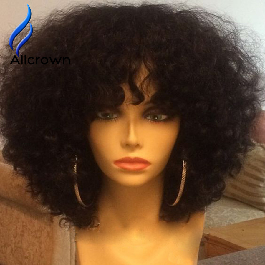 Virgin Brazilian Lace Front Wigs Human Hair Short Glueless Full Lace Wigs With Bangs Curly Human Lace Front Wigs Brazilian Hair