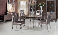 Stainless Steel Marble Dinning Table With Dining Room Set With 4 Chairs 2 Leather Wine Cabinet