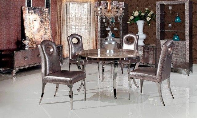 Edelstahl Marmor Esstisch Mit Esszimmer Set Mit 4 Stühle, 2 Leder
