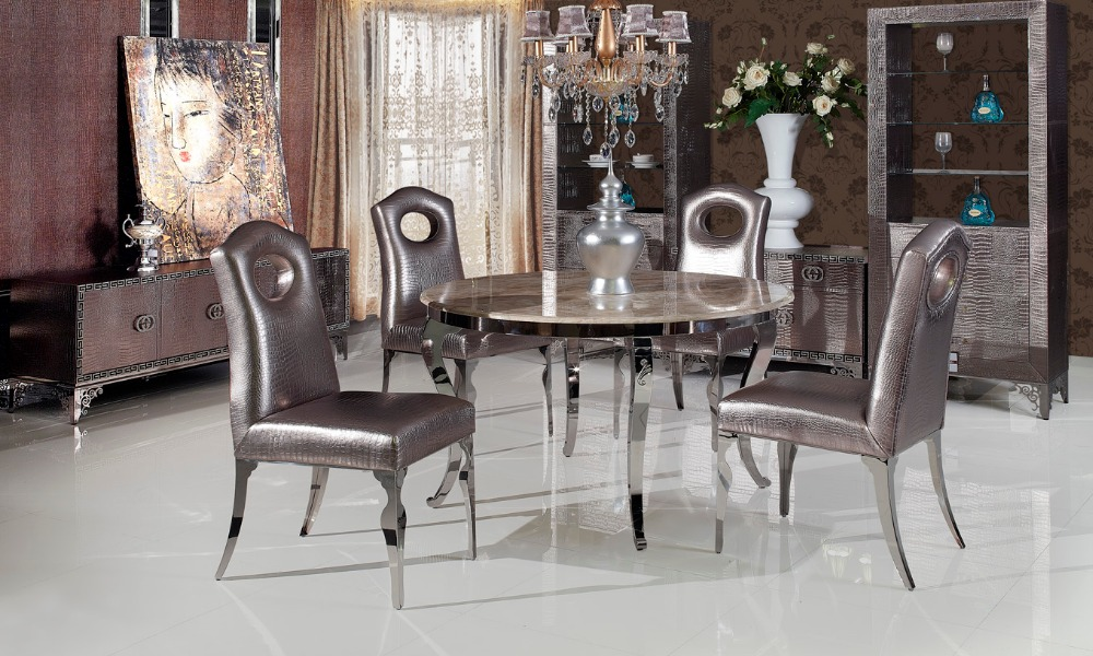 Stainless Steel Marble Dinning Table With Dining Room Set With 4 Chairs, 2  Leather Wine