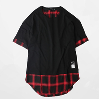 Plaid Tshirt Men Summer Rap vintage Hip Hop Curved Hem Swag Tshirts Harajuku Rock Retro t Shirt Men Streetwear Funky Top Tx703