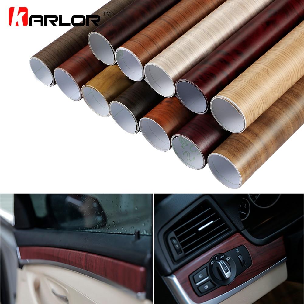 30 100cm pvc wood grain textured car interior decoration stickers waterproof furniture door. Black Bedroom Furniture Sets. Home Design Ideas