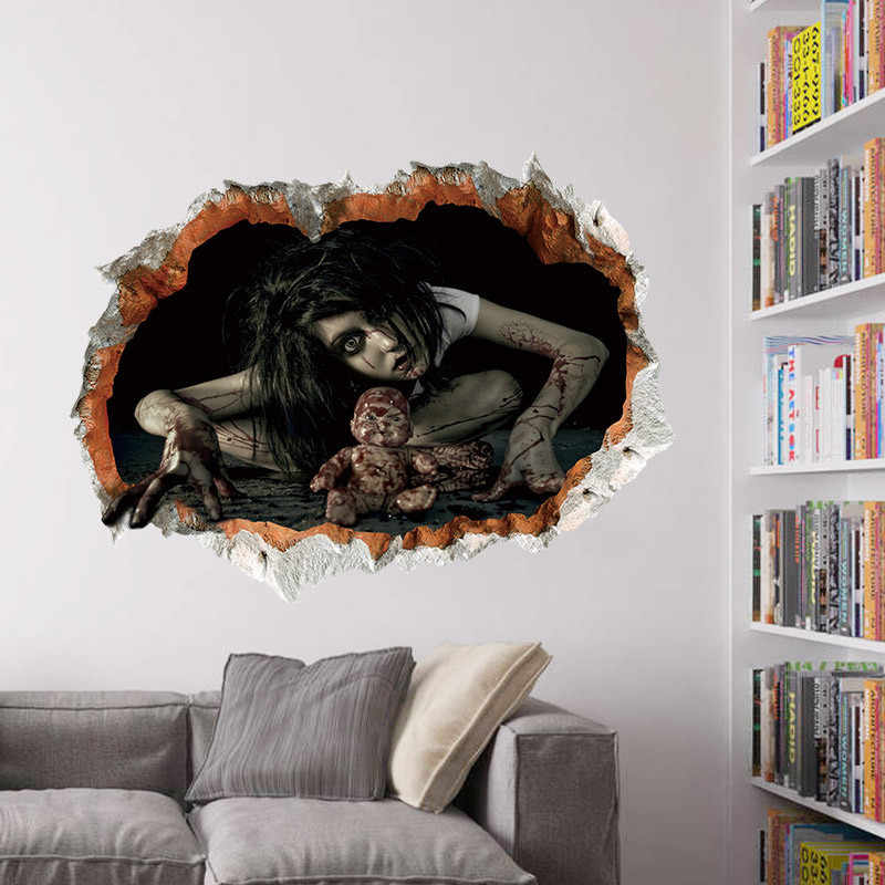Cool Big Wall Sticker Halloween Decoration 3d View Scary Bloody Broken Ghost Sticker Home Halloween Party DIY Decoration E
