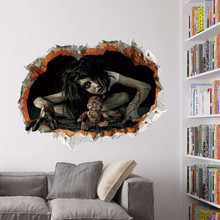 Cool Big Wall Sticker Halloween Decoration 3d View Scary Bloody Broken Ghost Sticker Home Halloween Party DIY Decoration E scary ghost 3d broken wall art sticker