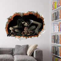 Cool Big vinilo de pared de Halloween decoración 3d vista sangriento aterrador pegatinas de fantasma roto hogar Halloween fiesta DIY decoración E