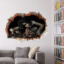 Cool Grote Muursticker Halloween Decoratie 3d View Scary Bloody Gebroken Ghost Sticker Home Halloween Party Diy Decoratie E
