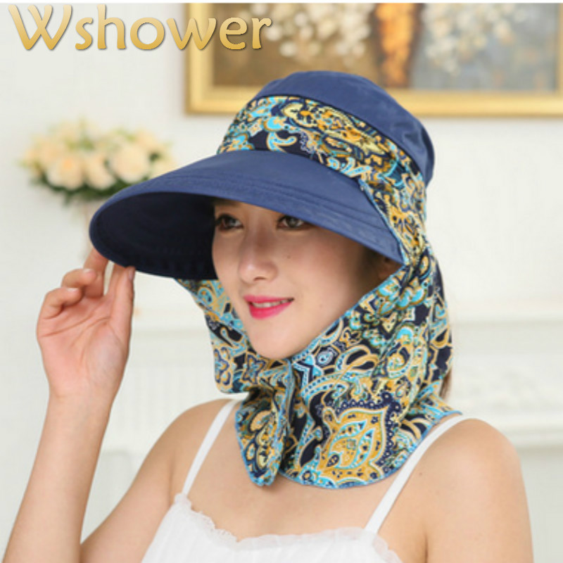 573d571cbc7a1 Which in shower UV Protection Floral Women Summer Foldable Sun Hat Neck  Face Cover Sun Beach
