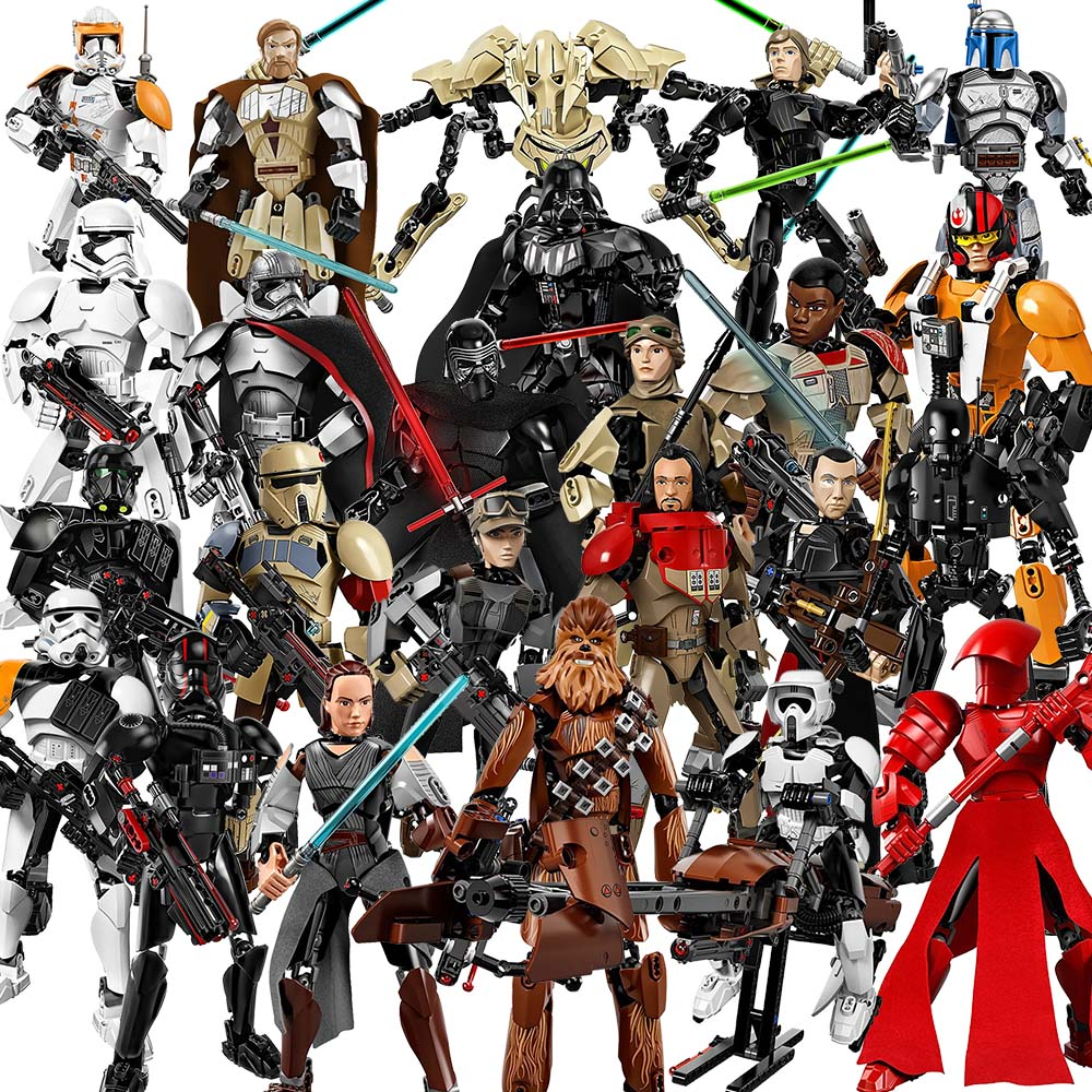 26 styles Star Wars buildable figures Darth Vader General Grievous Boba Fett Chewbacca Luke Skywalk building blocks for children