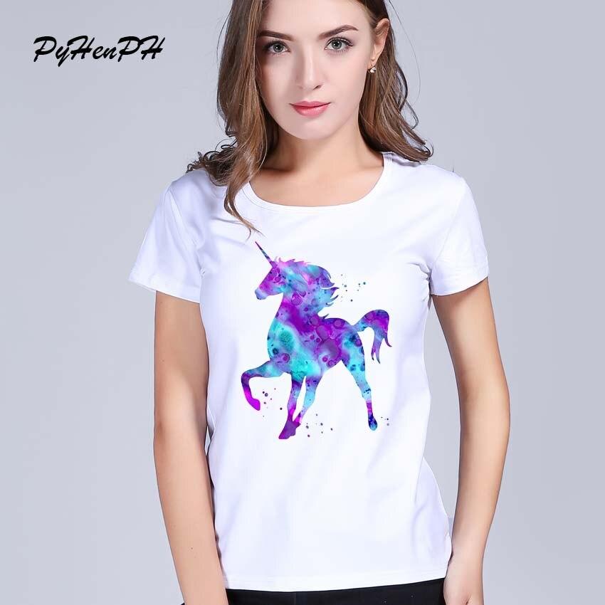 PyHenPH Novo 2016 Mulheres Unicórnio Padrão Impresso Manga Curta camiseta  Cool Cat Projeto Tops Novidade Senhora de Manga Curta T-shirt a72f49e8bd