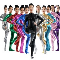 Unitard Gold Silver Catsuit Lycra Turtleneck Club Zentai Bodysuit Shiny Metallic Full Body Stage Multicolor Dance Adult For Kids