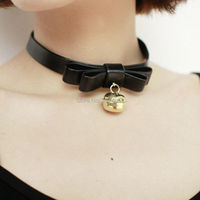 Harajuku Lolita Cat Meow 100% Handcrafted Leather Bow Choker Cosplay Bell Collar Necklace