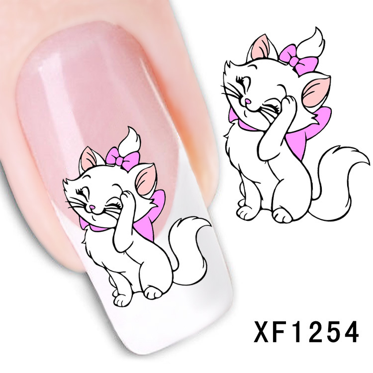 Beauty cute cat bowknot nail stickers Water Tranfer nail art stickers nail   XF1254