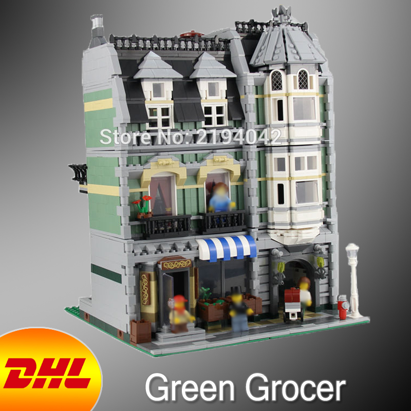 HF City Street Figures 2352Pcs Green Grocer Model Building Kits Blocks Bricks Educational Toy For Children Compatible With 10185 dhl lepin15008 2462pcs city street green grocer model building kits blocks bricks compatible educational toy 10185 children gift